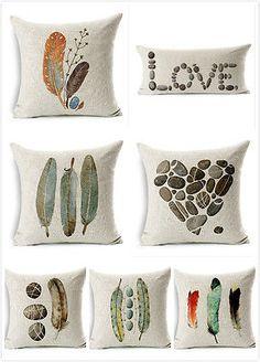 Cotton-Linen-Cushion-Cover-Stones-Pillow-Case-Feather-18-Throw-Decorative-Art