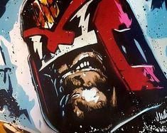 Spray Art By Joe by SprayArtByJoe on Etsy Superhero Characters, Comic Book Characters, Comic Books Art, Comic Art, Book Art, Judge Dredd Comic, Judge Dread, 2000ad Comic, Spray Painting