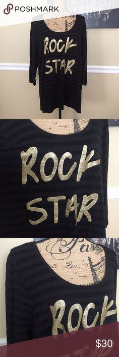 Rock Star Top This is a Lane Bryant black top size 22/24, it has stripes & gold glitter on letters. It has 3/4 length sleeves, very lightweight & in great condition. Lane Bryant Tops