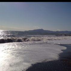 Th beach at Cavi di Lavagna, Liguria, Italy