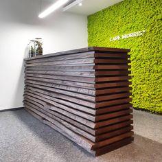 Biiig wooden reception desk at @capemorris.agency #woodlovers #woodlovers #reception #desk #receptiondesk #woodenreception #apackofwood…
