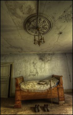 https://flic.kr/p/eCT652 | The Crooked House | Maison Kirsch [LUX] An old antique bed surrounded by decay in the amazing Maison Kirsch. We had the co-ordinates for this Maison farmhouse but were not sure whether to go for it or not. Recent reports from explorers had mentioned a big black dog being left in the overgrown garden during the day by a local in the village. The opportunity to photograph this great abandonment was too good to pass up as your not in Luxembourg every day! We had a…