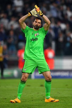 Gianluigi Buffon of Juventus applauds the fans after the UEFA Champions League Quarter Final first leg match between Juventus and FC Barcelona at Juventus Stadium on April 11, 2017 in Turin, Italy.