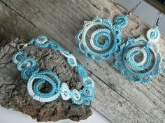 Sea memories - Tatted bracelet and earrings - OCCHI, Frivolité, Lace tatting,Chiacchierino,Frywolitki, on Etsy, $18.80