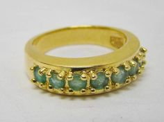 GOLD OVER SOLID 925 STERLING SILVER GENUINE GREEN EMERALD BAND RING 3.9g SZ 6.5 #Band