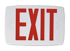 "Lithonia Lighting LQM S W 3 R 120/277 EL N SD M6 12"" LED Lighted Exit Sign ADA C White Commercial Lighting Emergency Lights Exit Signs"