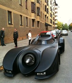 Batmobile replica in Stockholm.This one is made from a 1973 Lincoln Continental and cost over 1 million USD to build. It took the builder 3.5 years to construct at around 20,000 hours of work.