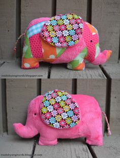 Elephant softie tutorial (with pattern)! Great scrap buster too!