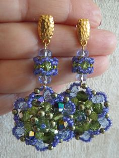Crystalf Flowers...Long, Sparkling Green and Blue Crystal and Glass bead Earrings
