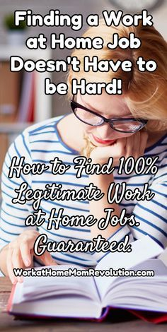 Finding a Work at Home Job Doesn't Have to be Hard! How to Find 100% Legitimate Work at Home Jobs. Guaranteed. FlexJobs is the Stress-Free, Easy Way to Find a Work from Home Job! All the Home-Based Jobs on FlexJobs Have Been Hand-Screened to be Legitimate