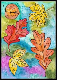 Listy kreslené s lepidlem Art Projects, Projects To Try, 5th Grade Art, Autumn Art, Leaf Art, Stained Glass Patterns, Art Lessons, Diy And Crafts, October