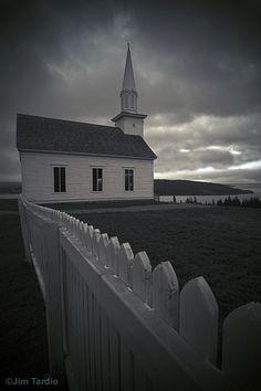 The town church at Highland Village on Cape Breton Island, Nova Scotia, Canada by Jim Tardio
