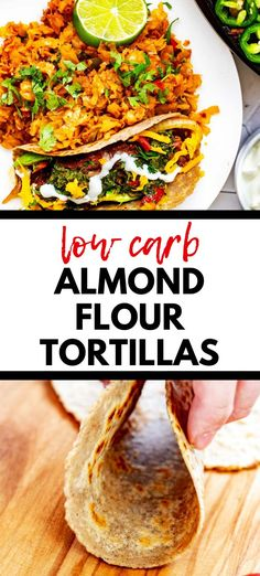 "This Low Carb Almond Flour Tortilla Recipe is simple to make and is the perfect soft, pliable tortilla for tacos, quesadillas, and wraps. You won't believe how much like the ""real thing"" these are in taste and texture. Try them once, and you will be hooked! #ketotortilla #almondflour Lunch Recipes, Easy Dinner Recipes, Low Carb Recipes, Real Food Recipes, Bread Recipes, Almond Flour Tortilla Recipe, Recipes With Flour Tortillas, Best Low Carb Bread, Gluten Free Snacks"