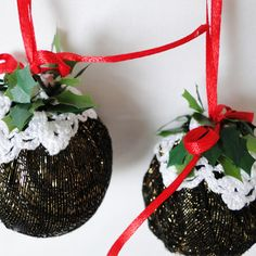 Two x Medium Christmas Pudding Baubles - Metallic, Paradis Terrestre - Luxury British Made Accessories & Homeware