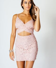 Lace Crossover Cutout Front Cami Bodycon Dress