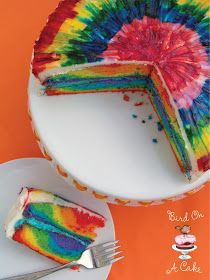 Tie dye cake recipe and tutorial from Bird on a Cake. Colorful!