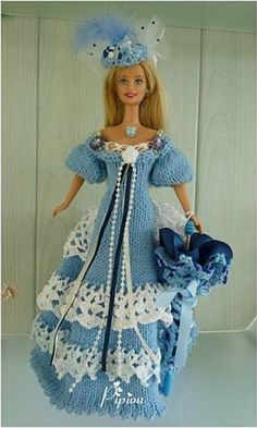 Barbie Gowns, Barbie Dress, Barbie Clothes, Beau Crochet, Knit Crochet, Barbie Style, Barbie Collection, Doll Crafts, Beautiful Crochet