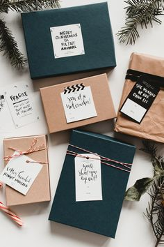 Holiday gift tags and wrapping ideas Christmas Gift Wrapping, Diy Christmas Gifts, Holiday Gifts, Kids Christmas, Simple Gifts, Easy Gifts, Gift Noel, Creative Gift Wrapping, Simple Gift Wrapping Ideas