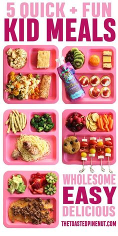 FIVE quick, fun, delicious, and wholesome Kid's Meals that I know your little ones will love! I'm sharing what my kids ate and what they liked! health activities health care health ideas health tips healthy meals Healthy Toddler Meals, Healthy Meals For Kids, Healthy Snacks, Healthy Recipes, Healthy Choices, Kid Snacks, Toddler Dinners, Quick Meals, Healthy Toddler Lunches