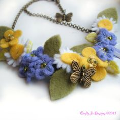 Buttercups, daisies and forget me nots felt flower necklace by CraftyJoDesigns  https://www.etsy.com/uk/listing/219120458/felt-flower-necklace-forget-me-not?ref=shop_home_active_3