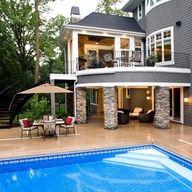 double patio + pool