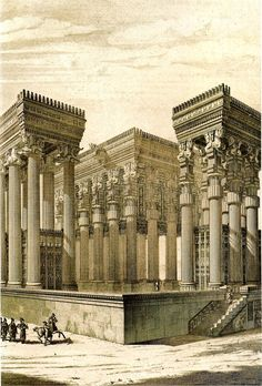 A reconstruction of Persepolis, capital of the ancient Persian Empire Architecture Antique, Art Et Architecture, Persian Architecture, Historical Architecture, Classic Architecture, Ancient Near East, Ancient Ruins, Ancient Art, Ancient History