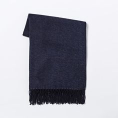 Henley Navy Yarn dyed Throw with fringe