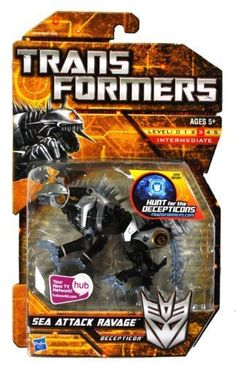 Hasbro Year 2009 Transformers Hunt for the Decepticons Series 6 Inch Long Action Figure  Decepticon SEA ATTACK RAVAGE Panther with Snapping Jaw and 2 Blasters Alternative Mode Reentry Form -- Visit the image link more details. Note:It is affiliate link to Amazon.