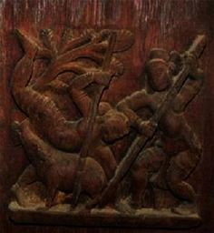 Unique small bass relief of two men hunting a boar with a spear.