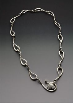 Hand forged sterling silver necklace with fossilized shell and sapphire by  Wendy Walsh (W Walsh Designs). 43b9e390ab9cf