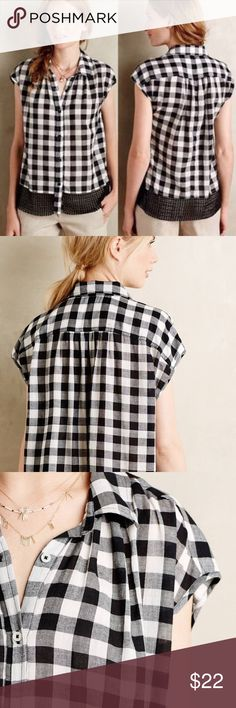 Holding a Horses Nellie Gingham Top EUC Tag is XS but Runs big,... so listed as small, fits like a size 6.  No trades, offers welcome✌️☺️ Anthropologie Tops