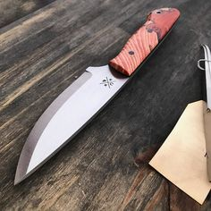 """Bushcraft is done. About 9"""" overall with spalted hackberry handle micarta and stainless hardware. Now on to the sheath and ferro rod.  #knife #knives #handmade #hunting #camping #outdoors #edc #leather #leathercraft #blade #bushcraft #survival #tactical #knifepics #knifemaker #chicago"""