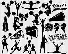 20 cheer silhouettes svg cutting files and clipart included. Cuttable on silhouette cameo and cricut explore