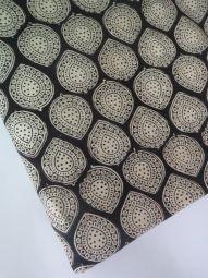 India Cotton Fabric/kalamkari print/hand made/Natural Vegetable Dyes for Dresses,Curtain-1 yard Black -White  Jaipur Sanganeri Printed