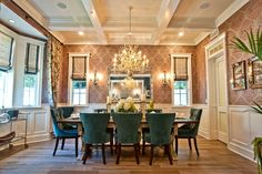 Love the style & color of these dining room chairs! Breezy Brentwood - traditional - dining room - los angeles - Jill Wolff Interior Design
