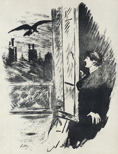 Illustrations for Edgar Allan Poe's The Raven by Edouard Manet (1875)