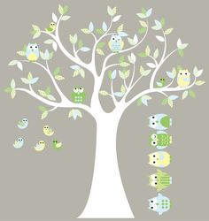 Kids tree decal- vinyl wall decal-  owl tree-   pattern leaves with 5 FREE owls on Etsy, $105.00