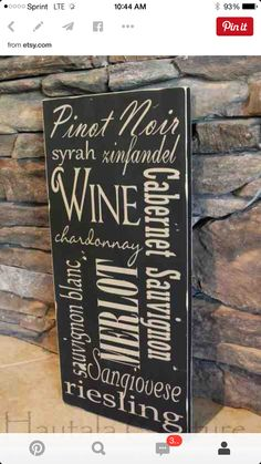 Rustic Typography Hand Painted Types of Wine Decor via Etsy. Wine Theme Kitchen, Kitchen Themes, Kitchen Decor, Lettering, Typography, Wine Signs, Paint Types, Types Of Wine, Wine Wall