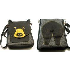 Bear Bottom Hip Bag Purse Felt Made in USA by Grimcreation on Etsy