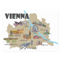 Shop Vienna Austria Map Overview Postcard created by Personalize it with photos & text or purchase as is! Austria Map, Vienna Austria, Vienna Map, Dubai Skyscraper, Tourist Map, Watercolor Map, City Illustration, German Language, Travel Maps