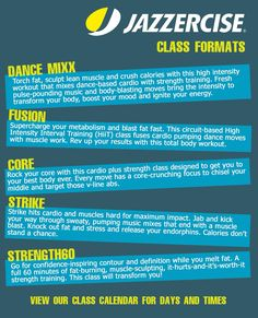 Check out all the formats a Jazzercise instructor teaches. See you on the dance floor.