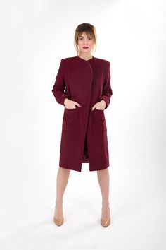 Dark red linen coat with side pockets. Fall Winter 2015, Dark Red, Attitude, Women Wear, Normcore, High Neck Dress, Pockets, Coat, How To Wear