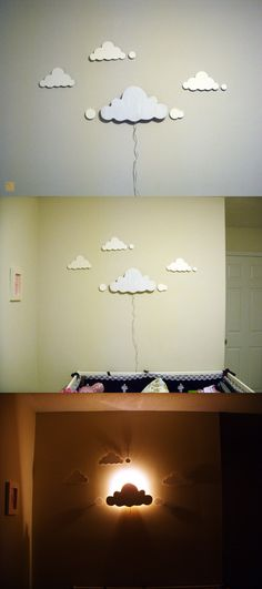 Clouds night-light: This idea is good at an early stage when the baby can't pull on the wire. The main cloud is made by carving a wood panel with a hobby drill. The night-light was bought from dollar store for $1. The light components were modified to have a longer wire and then stuck to the back of the main cloud. The other clouds are cut out of art board with a hobby blade. I glued a single thumbtack behind each cloud which is enough to keep up the light weight cutouts. The main cloud is…