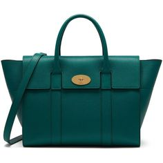 Mulberry Bayswater with Strap ($1,425) ❤ liked on Polyvore featuring bags, handbags, ocean green, real leather purses, evening handbags, evening purses, special occasion handbags and green handbags