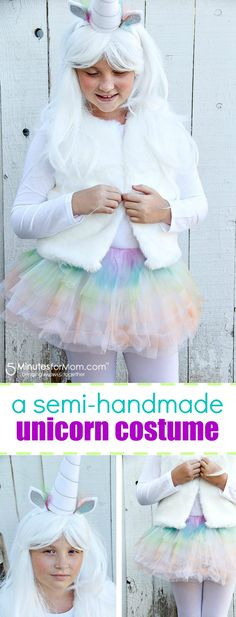 How To Make an Easy Unicorn Costume for Kids - This is a simple DIY Halloween Costume perfect for girls. Sponsored