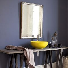 Navy Wall - Silver Mirror - Yellow Sink (But my sink would be green of course)