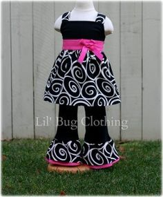 Black White Swirl Hot Pink Sash Bow Jumper Top and Pant Outfit sold by Lil Bug Clothing. Shop more products from Lil Bug Clothing on Storenvy, the home of independent small businesses all over the world.