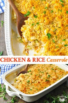 A simple, old-fashioned Chicken and Rice Casserole is a staple in American home cooking. The comforting, flavorful and easy dinner recipe comes together in about 10 minutes, making it a delicious way to feed your family on busy nights. Cooked Chicken Recipes Leftovers, Chicken Rice Recipes, Pre Cooked Chicken, Shredded Chicken Recipes, How To Cook Chicken, Rotisserie Chicken, Chicken Gravy, Roasted Chicken, Fried Chicken