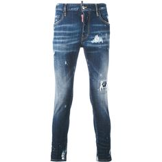 Dsquared2 Distressed Slim-fit Jeans (€255) ❤ liked on Polyvore featuring men's fashion, men's clothing, men's jeans, mens frayed hem jeans, mens torn jeans, mens slim fit ripped jeans, mens distressed jeans and mens white distressed jeans