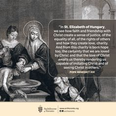 Let us remember St. Elizabeth of Hungary, patron of Catholic charities because of her devotion to the poor & hungry. #catholic #feastday #elizabeth #hungary